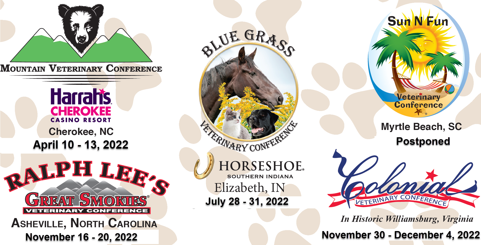 Our Conferences for 2020: Mountian Veterinary Conference, Sun N Fun Veterinary Conference, Bluegrass Veterinary Conference, Ralph Lee's Great Smokies Veterinary Conference and Colonial Veterinar Conference